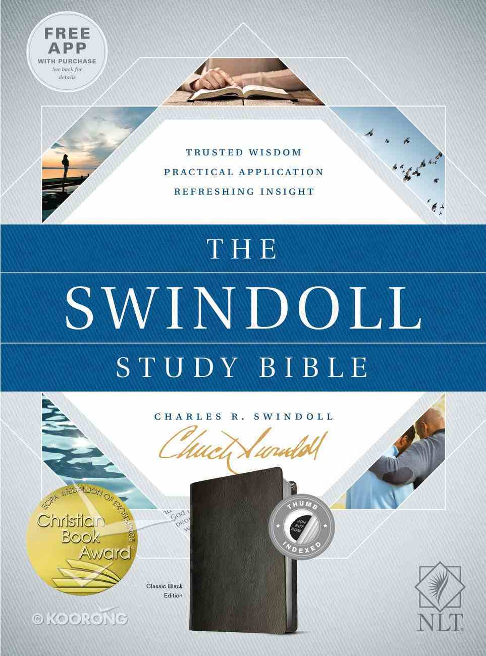 NLT Swindoll Study Bible Indexed Black Imitation Leather