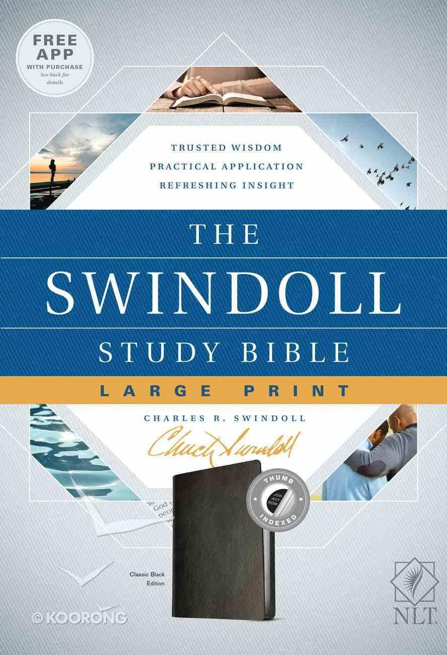 NLT Swindoll Study Bible Indexed Large Print Black (Black Letter Edition) Imitation Leather