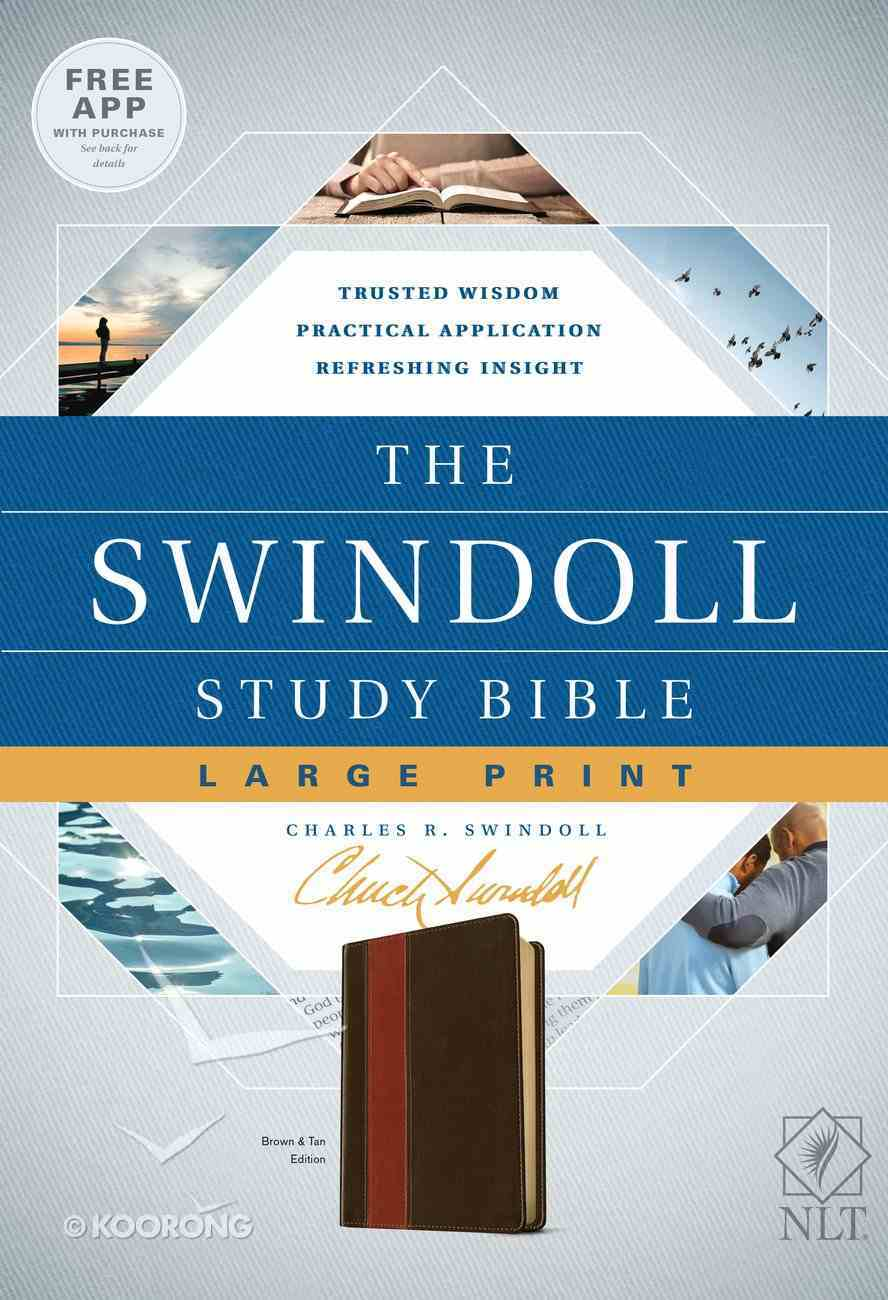 NLT Swindoll Study Bible Large Print Brown/Tan (Black Letter Edition) Imitation Leather