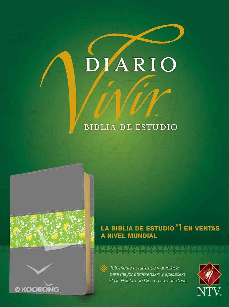 Ntv Biblia De Estudio Del Diario Vivir Indexed Gray/Green (Red Letter Edition) Imitation Leather