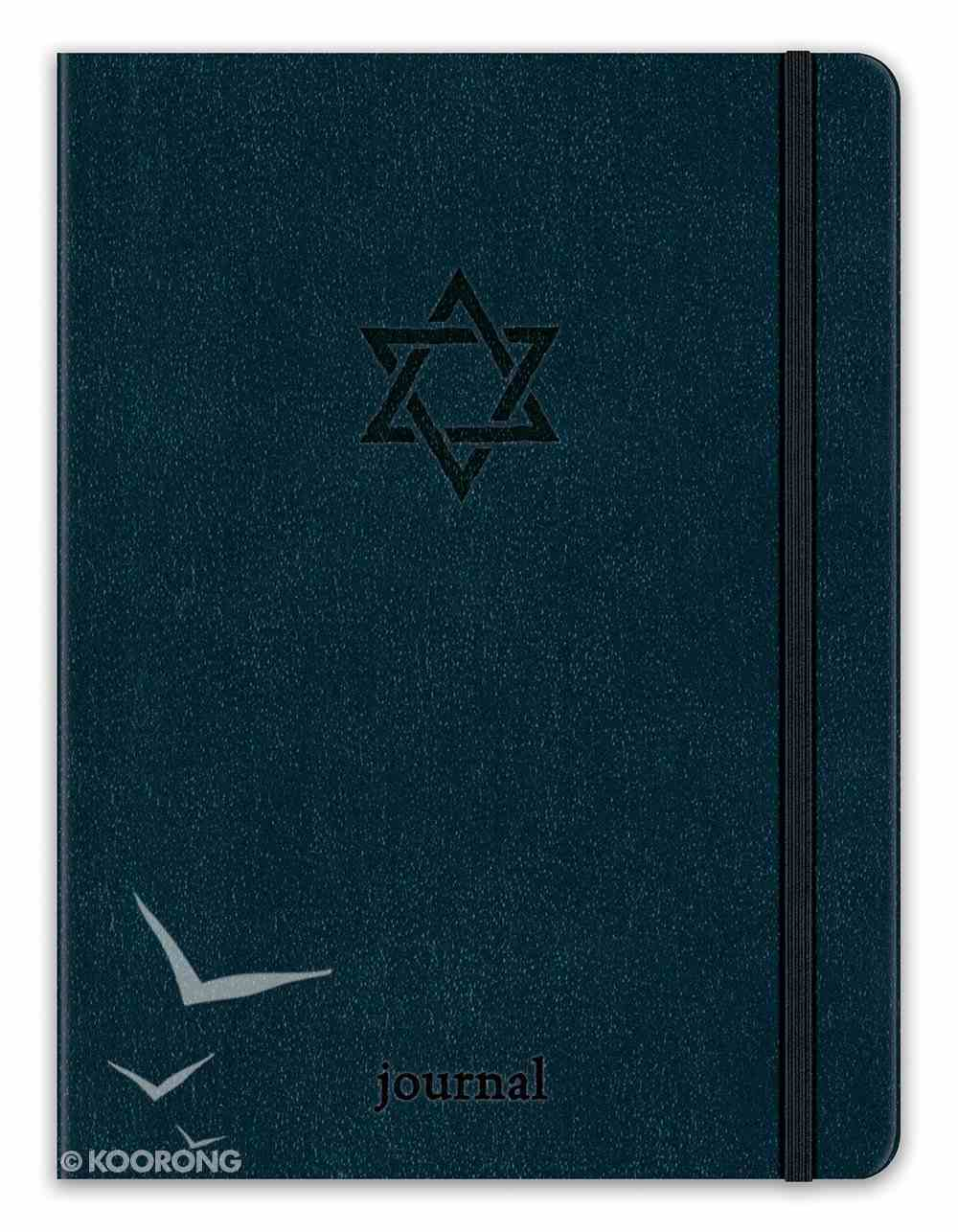 Journal: Star of David Essential, Navy With Elastic Closure, Leatherluxe Imitation Leather