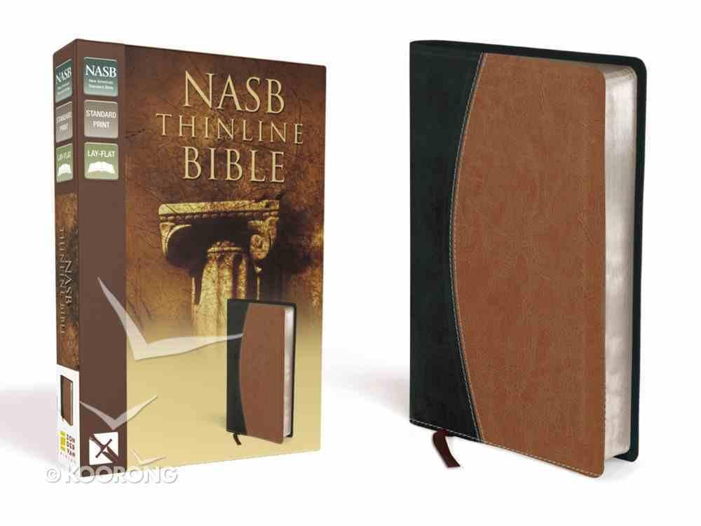 NASB Thinline Black/Tan (Red Letter Edition) Premium Imitation Leather