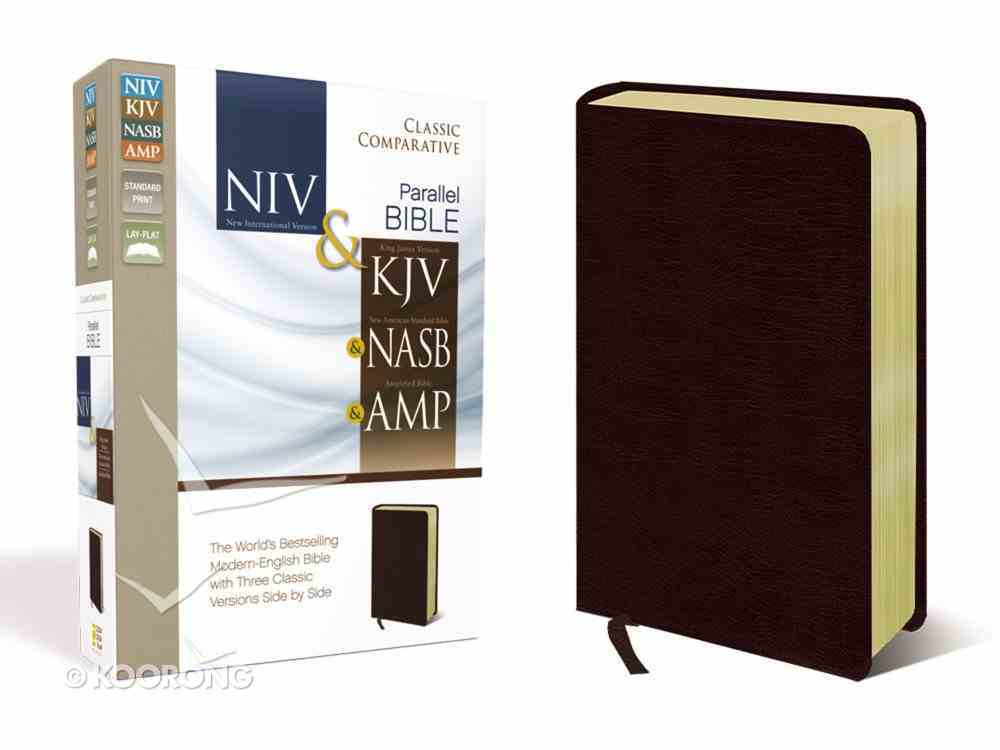 Niv/Kjv/Nasb/Amp Classic Comparative Side-By-Side Bible Burgundy Bonded Leather