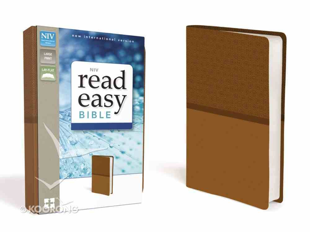 NIV Read Easy Bible Brown Large Print (Red Letter Edition) Premium Imitation Leather