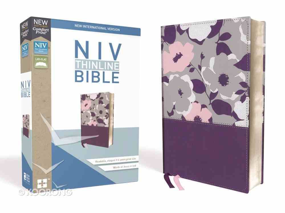 NIV Thinline Bible Purple Floral (Red Letter Edition) Premium Imitation Leather