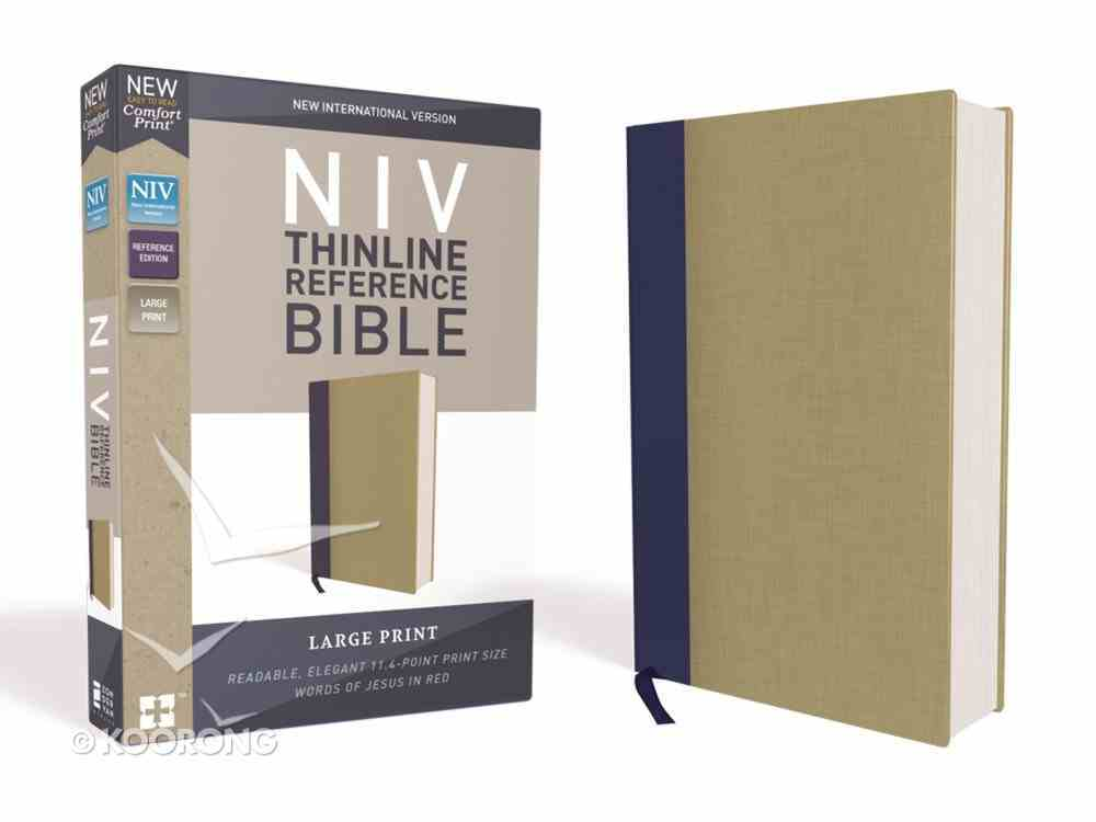 NIV Thinline Reference Bible Large Print Blue/Tan (Red Letter Edition) Hardback
