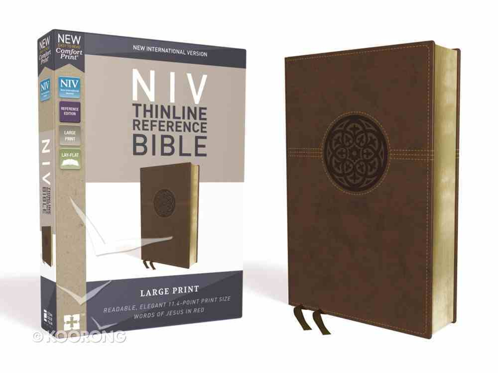 NIV Thinline Reference Bible Large Print Brown (Red Letter Edition) Premium Imitation Leather