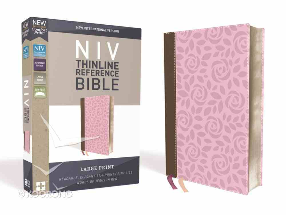 NIV Thinline Reference Bible Large Print Pink/Brown (Red Letter Edition) Premium Imitation Leather