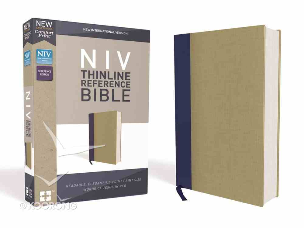 NIV Thinline Reference Bible Blue/Tan (Red Letter Edition) Hardback