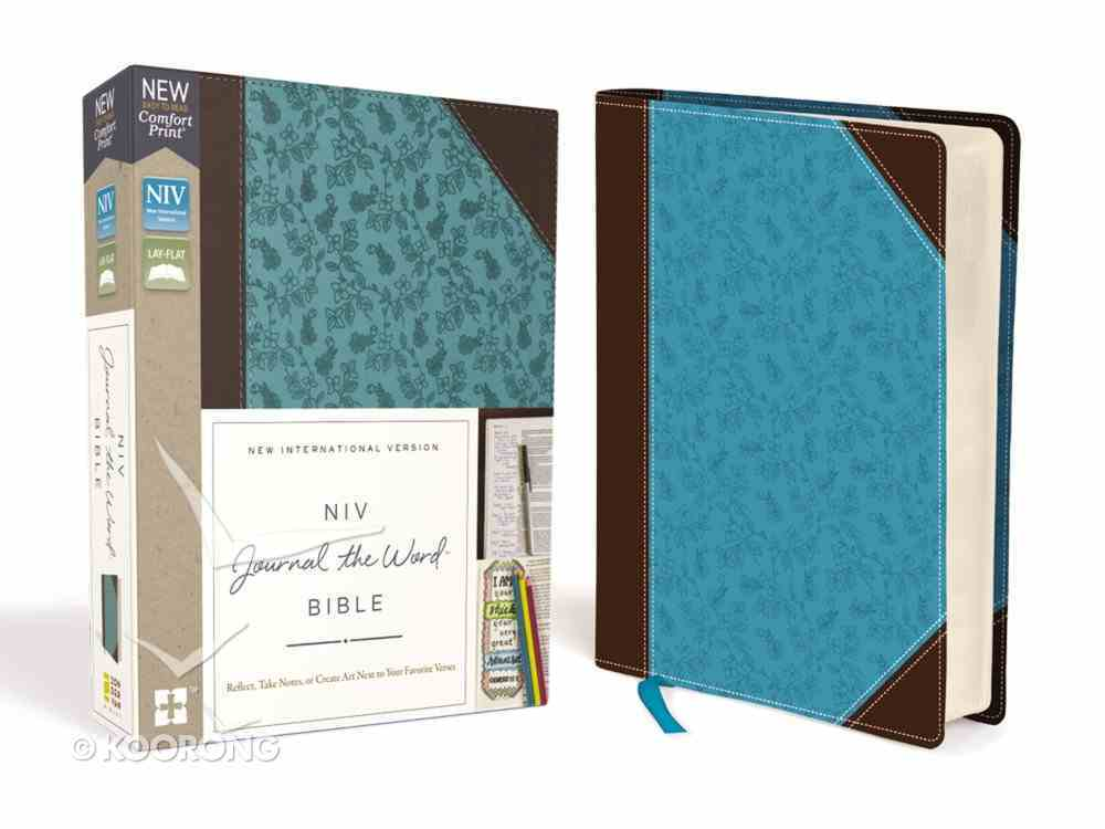 NIV Journal the Word Bible Brown/Blue (Red Letter Edition) Premium Imitation Leather