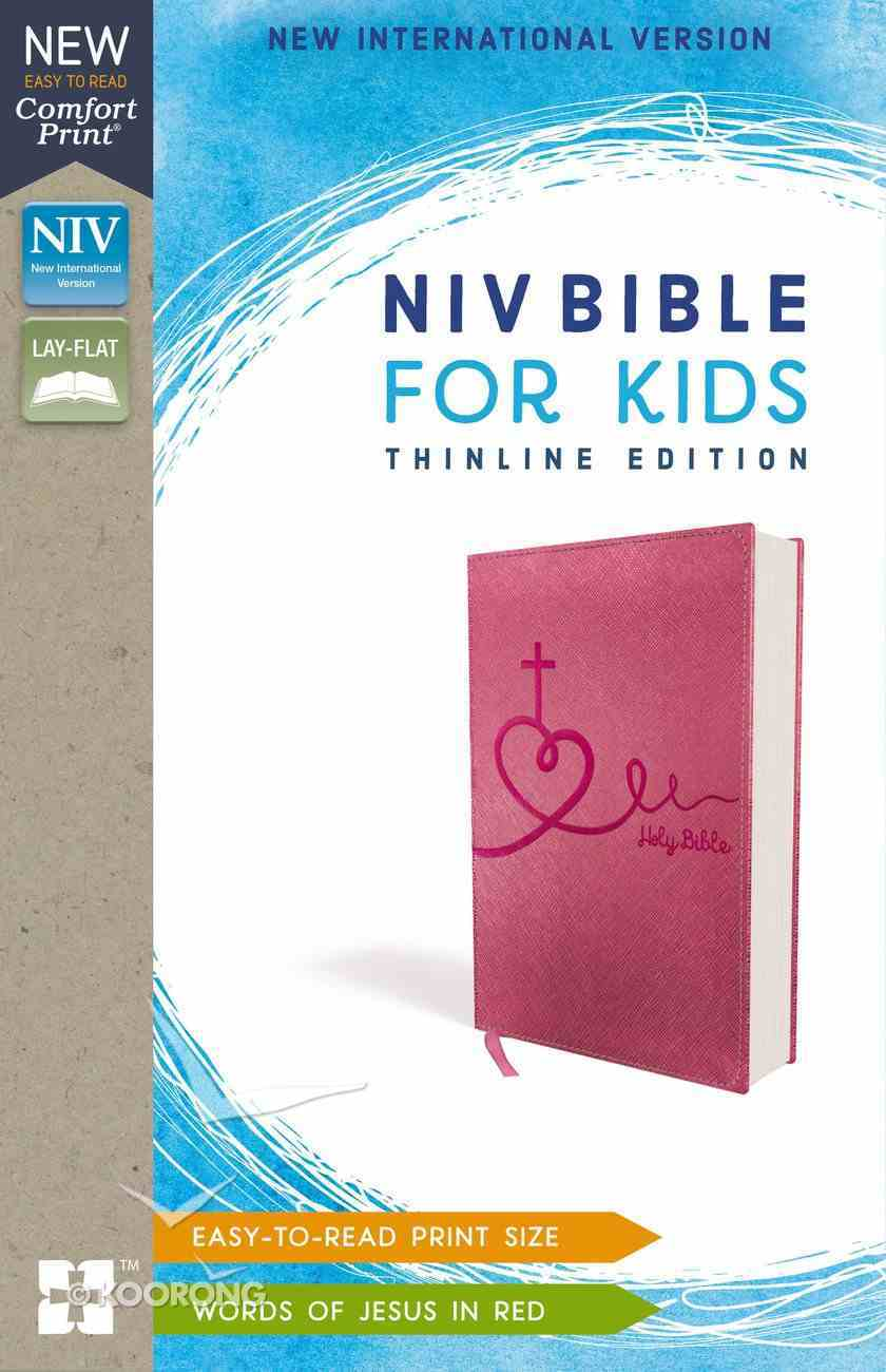 NIV Bible For Kids Pink Thinline (Red Letter Edition) Premium Imitation Leather