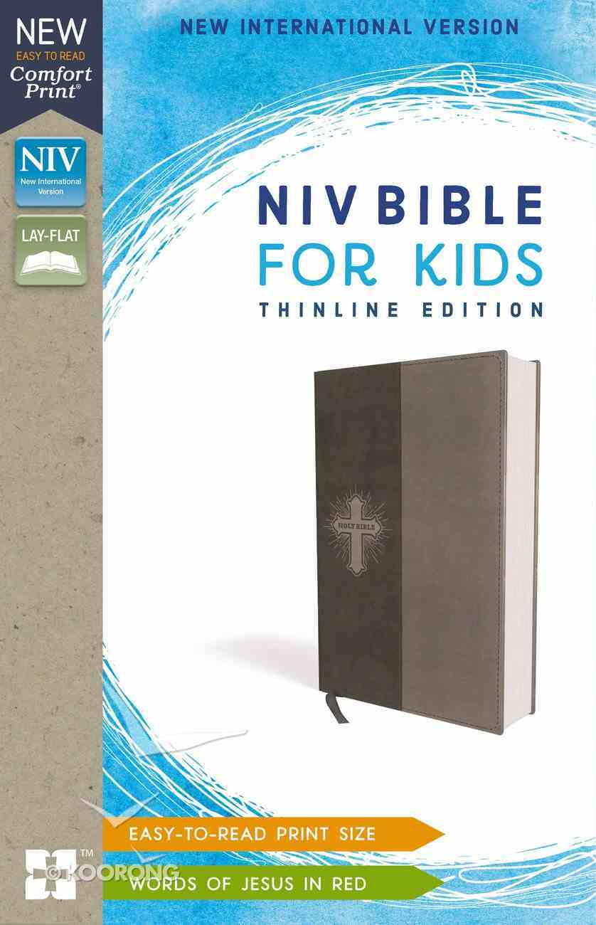 NIV Bible For Kids Gray Thinline (Red Letter Edition) Premium Imitation Leather