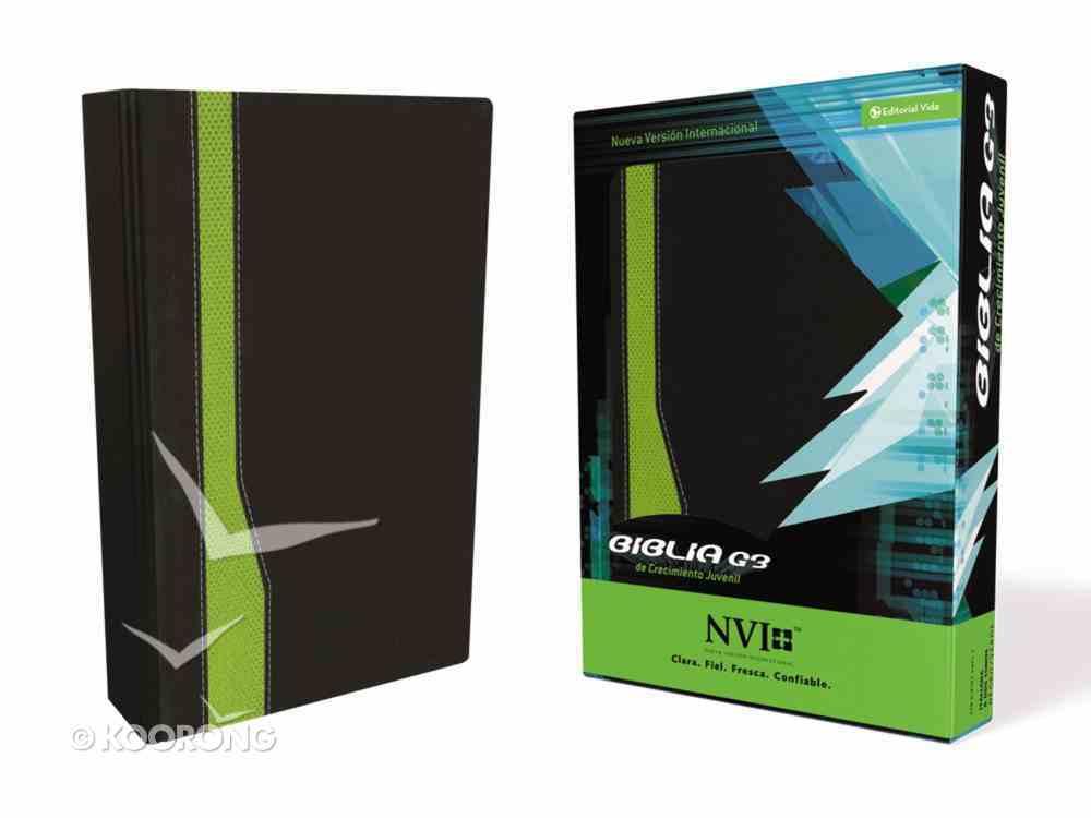 Nvi Biblia G3 De Crecimiento Juvenil Black/Green (G3 Bible For Youth Development) Imitation Leather