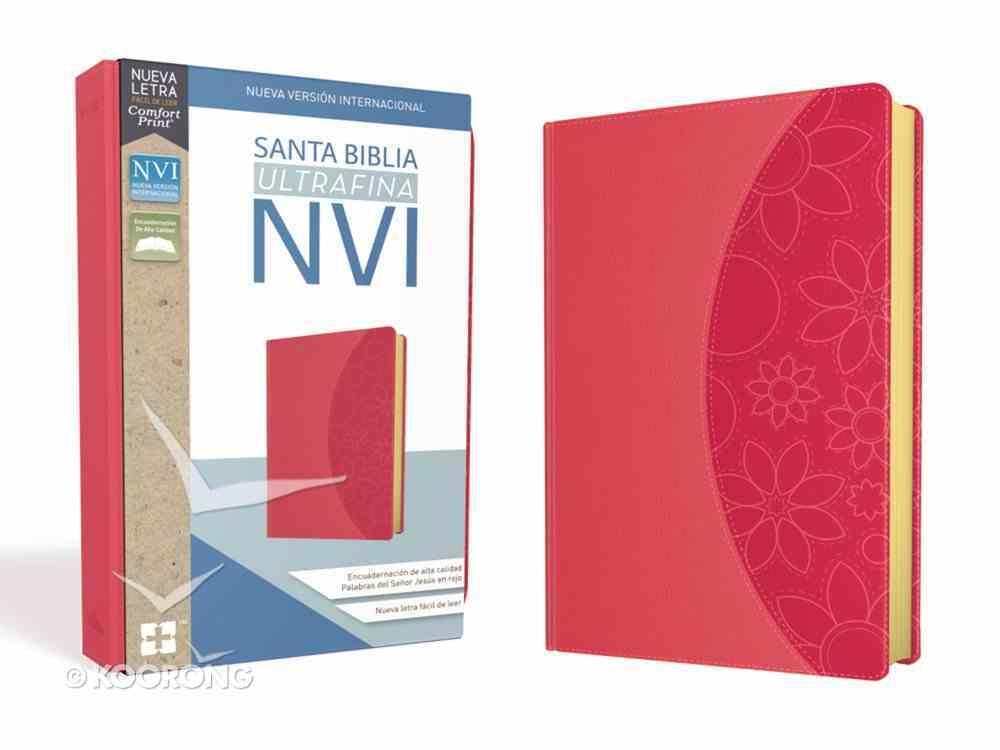 Nvi Santa Biblia Ultrafina Rosa (Red Letter Edition) Premium Imitation Leather