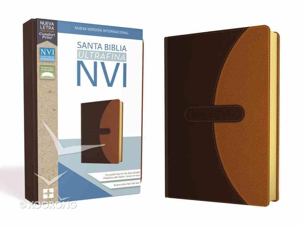 Nvi Santa Biblia Ultrafina Cafe (Red Letter Edition) Premium Imitation Leather