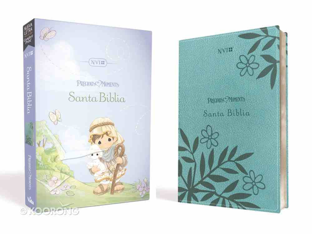 Nvi Santa Biblia Precious Moments Aqua Premium Imitation Leather