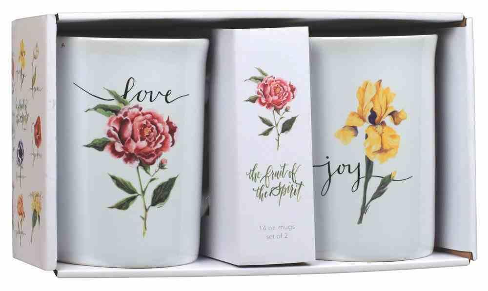 Ceramic Mugs: Fruit of the Spirit, Joy & Love, White/Flowers on Each Mug (Set Of 2) Homeware
