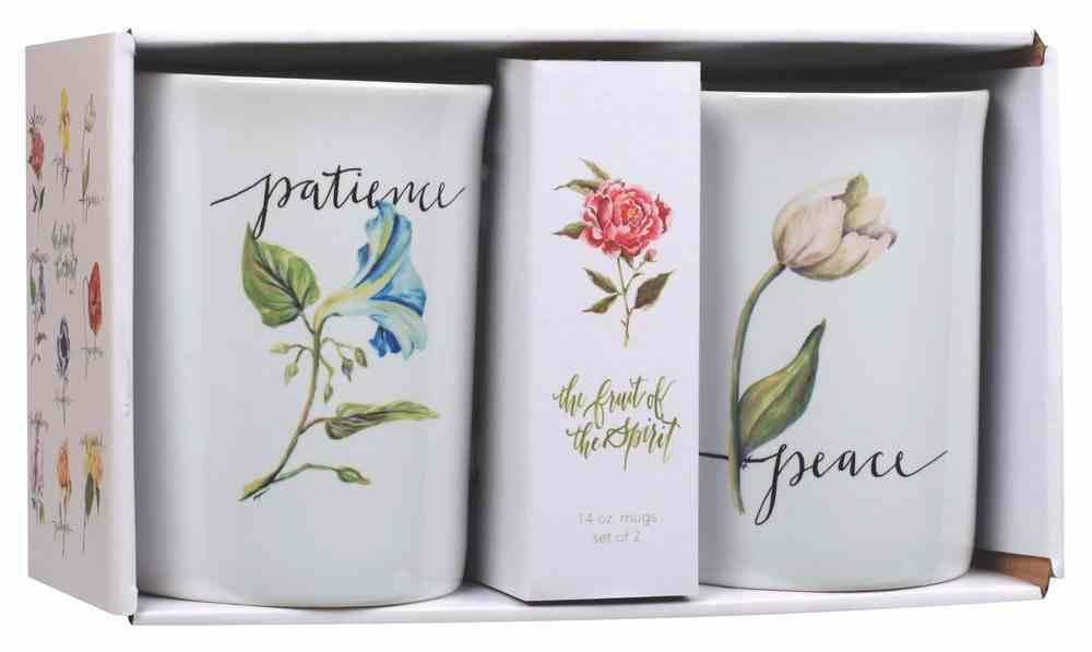 Ceramic Mugs Set of 2: Fruit of the Spirit, Patience & Peace, White/Flowers on Each Mug Homeware