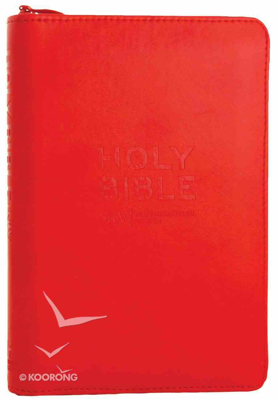 NIV Pocket Bible Red Soft-Tone With Zip Imitation Leather
