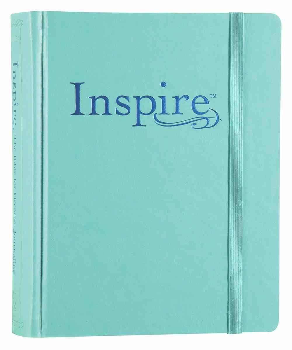 NLT Inspire Creative Journaling Bible Aquamarine With Elastic (Black Letter Edition) Imitation Leather Over Hardback