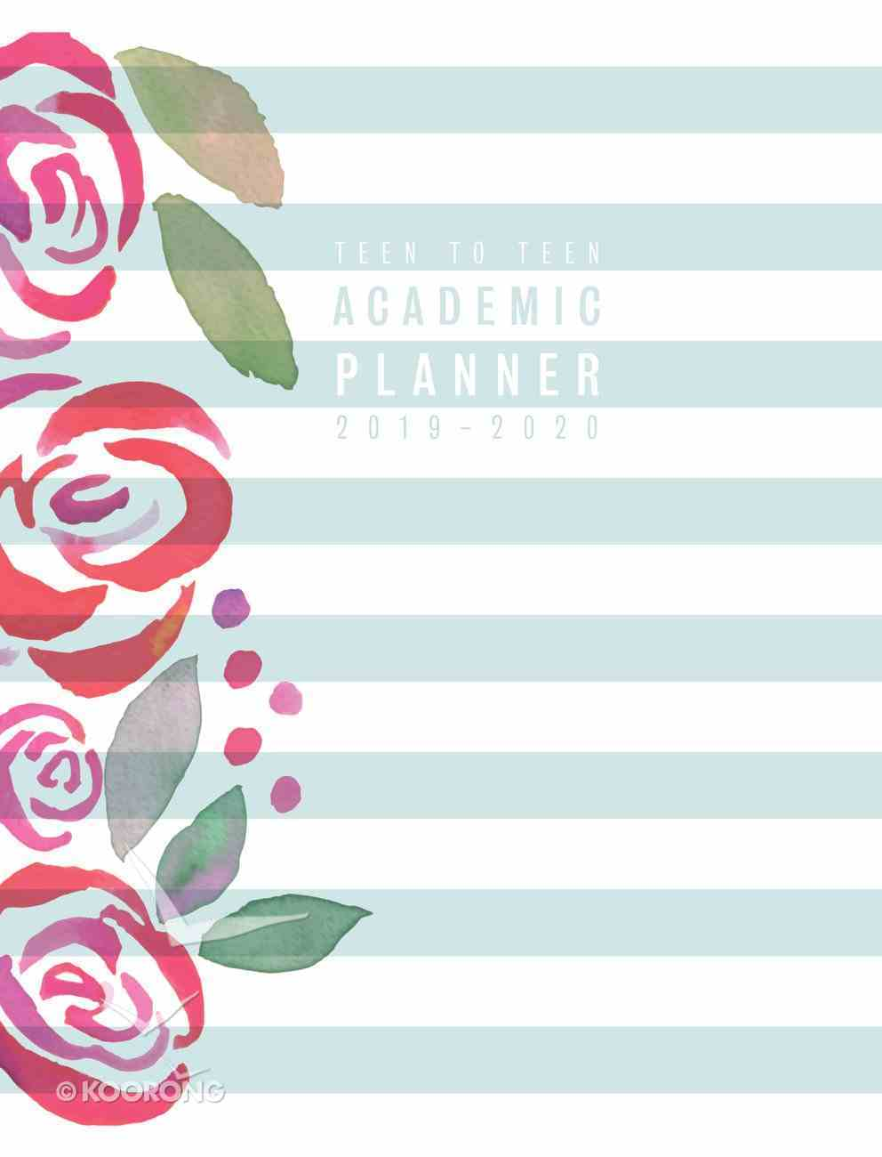 Teen to Teen Academic Diary/Planner July 2019 - June 2020, Blue Stripes/Pink Flowers, (Ages 13-18) Hardback