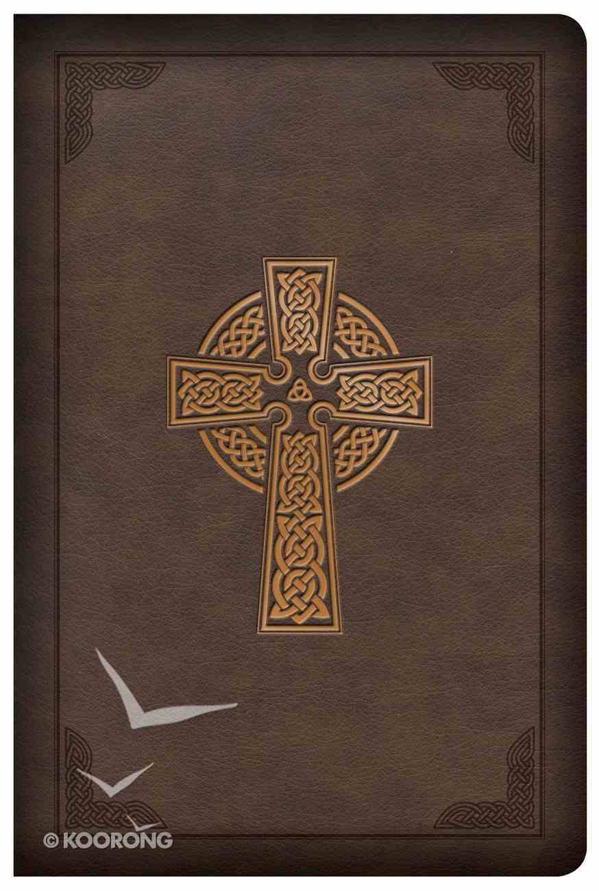 CSB Large Print Compact Reference Bible Celtic Cross Brown (Red Letter Edition) Imitation Leather