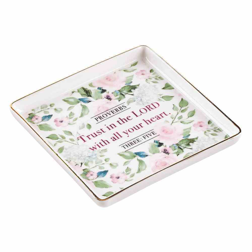 Ceramic Trinket Tray: Trust in the Lord, Pink Floral (Proverbs 3:5) Homeware