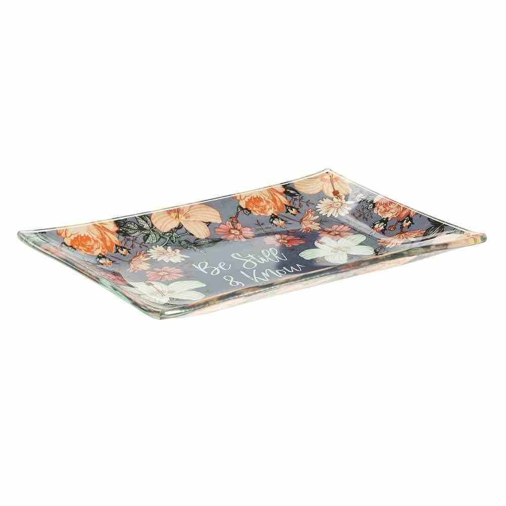 Ceramic Trinket Tray: Be Still & Know, Navy/Pink Floral (Psalm 46:10) Homeware