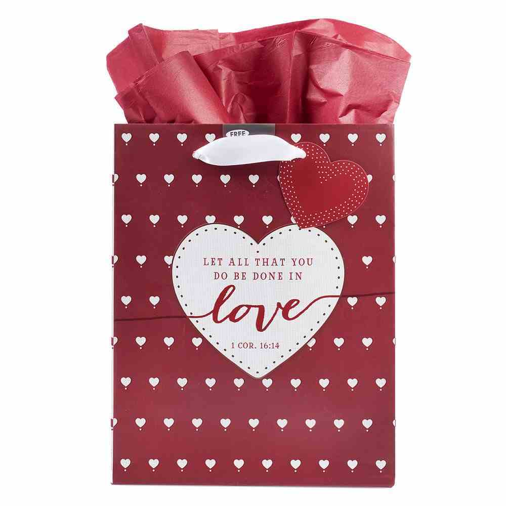 Gift Bag Medium: Let All That You Do Be Done in Love, Red With Small White Hearts (1 Cor 16:14) Stationery