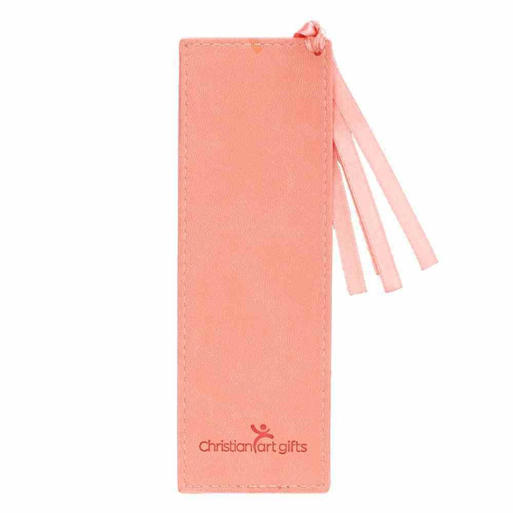 Bookmark Luxleather: He Works All Things....Peach/Floral, Peach Ribbon Tassel (Romans 8:28) Stationery