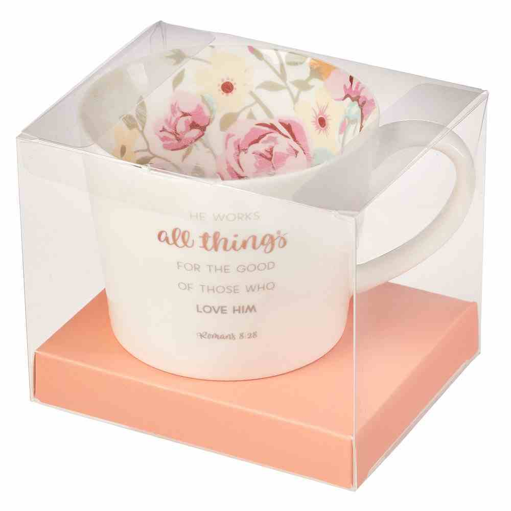 Ceramic Mug: Floral, He Works All Things.....(Romans 8:28) (384ml) Homeware