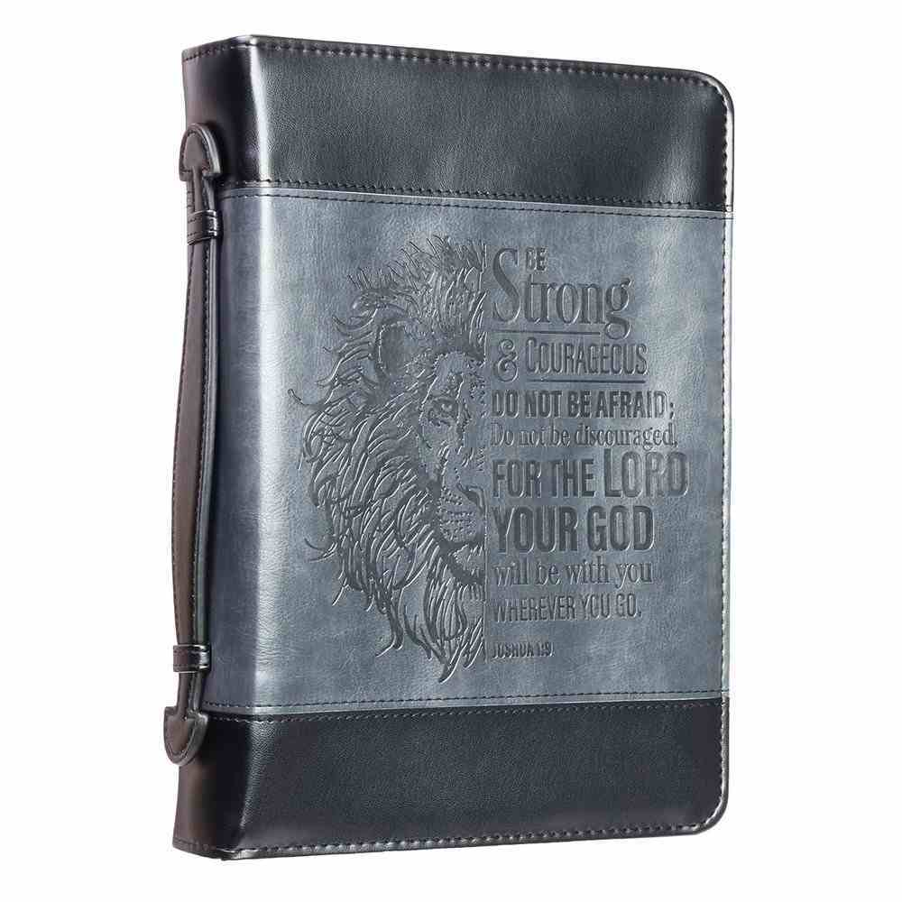 Bible Cover Medium Classic, Be Strong & Courageous, Grey/Black Luxleather (Joshua 1: 9) Bible Cover