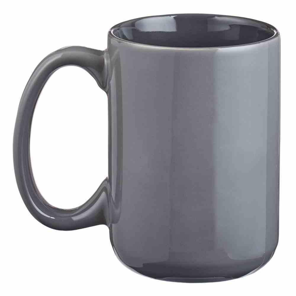 Ceramic Mug: Be Strong & Courageous, Grey/Black (Joshua 1:9) (414ml) Homeware