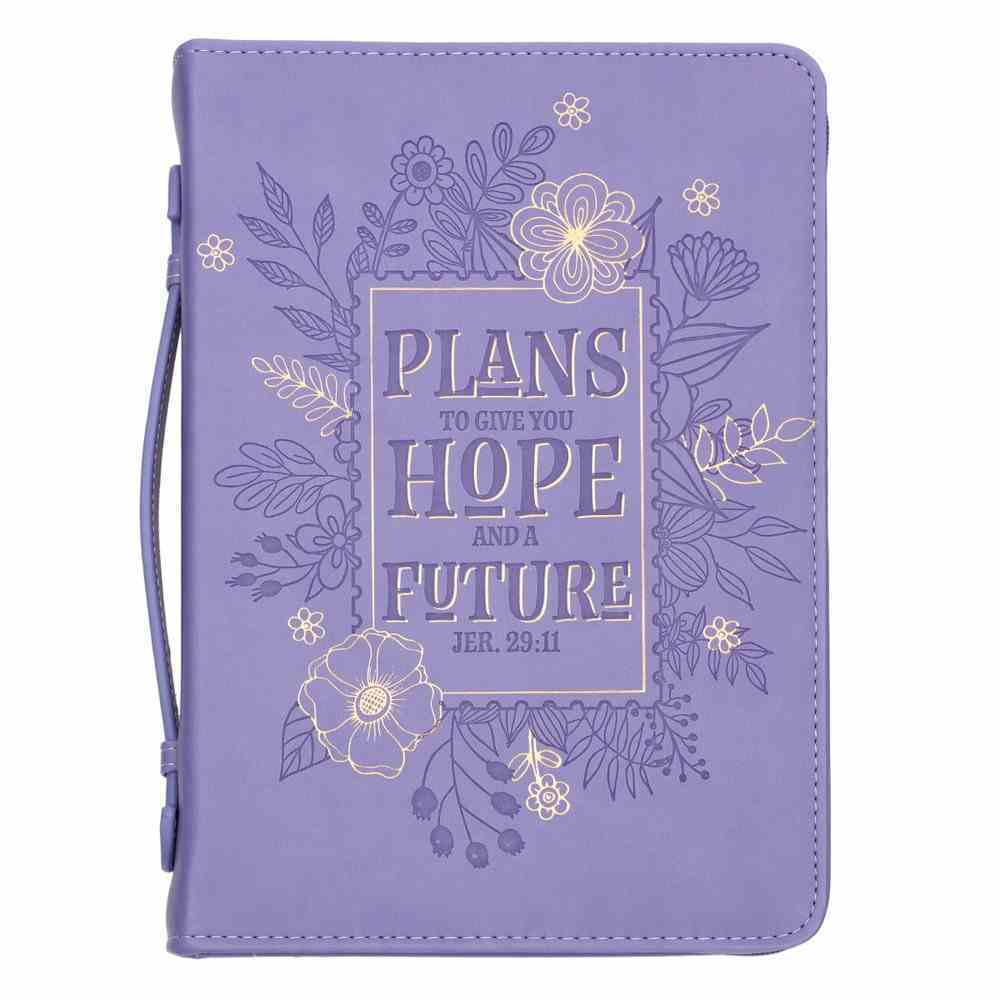 Bible Cover Trendy Medium Plans to Give You Hope and a Future, Purple Floral Luxleather (Jer 29: 11) Bible Cover