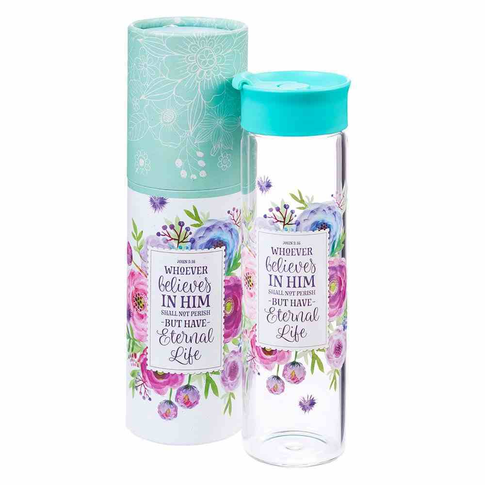 Water Bottle Clear Glass: Floral, Whoever Believes in Him... (John 3:16) Homeware