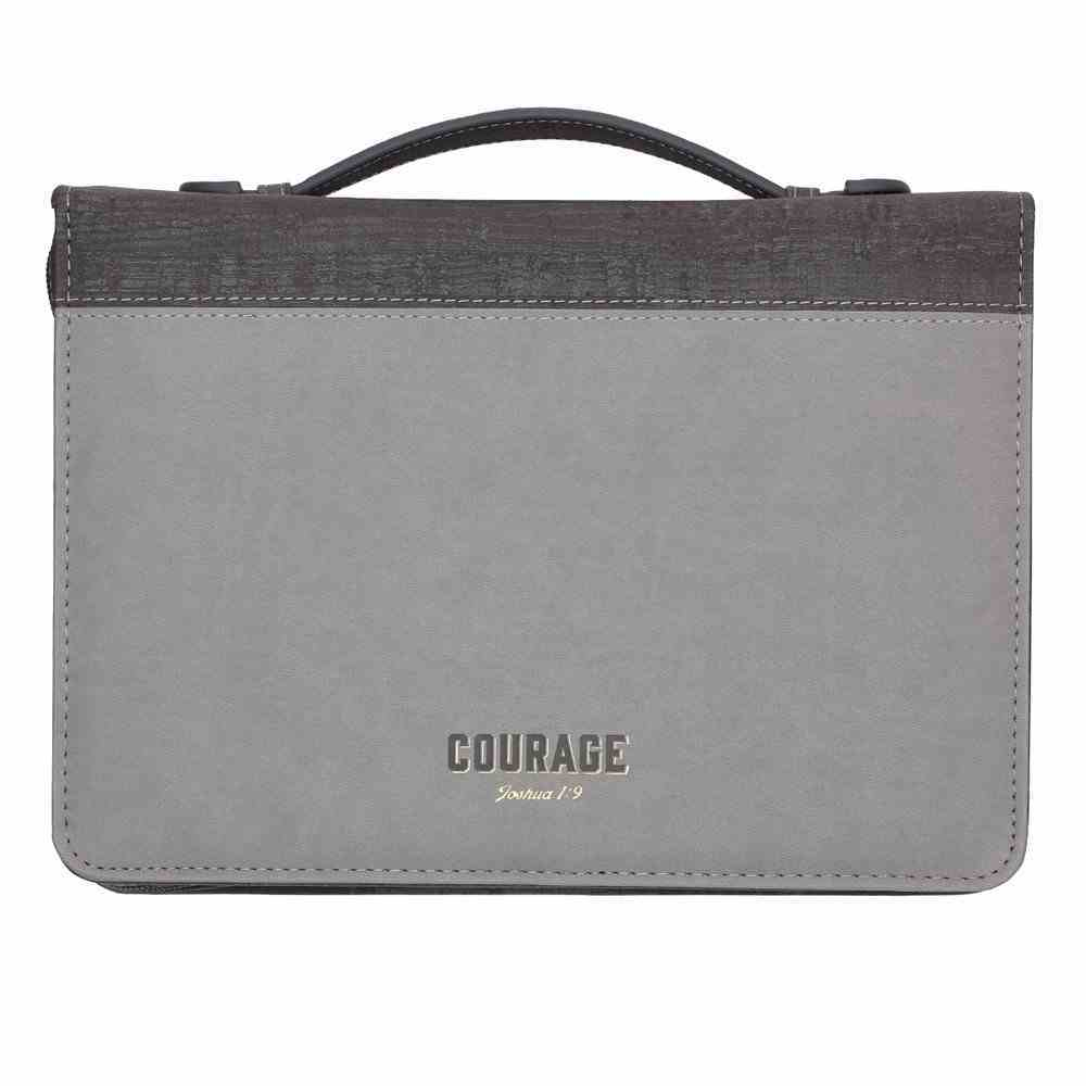 Bible Cover Medium Classic, Courage, Grey/Black Luxleather (Joshua 1: 9) Bible Cover