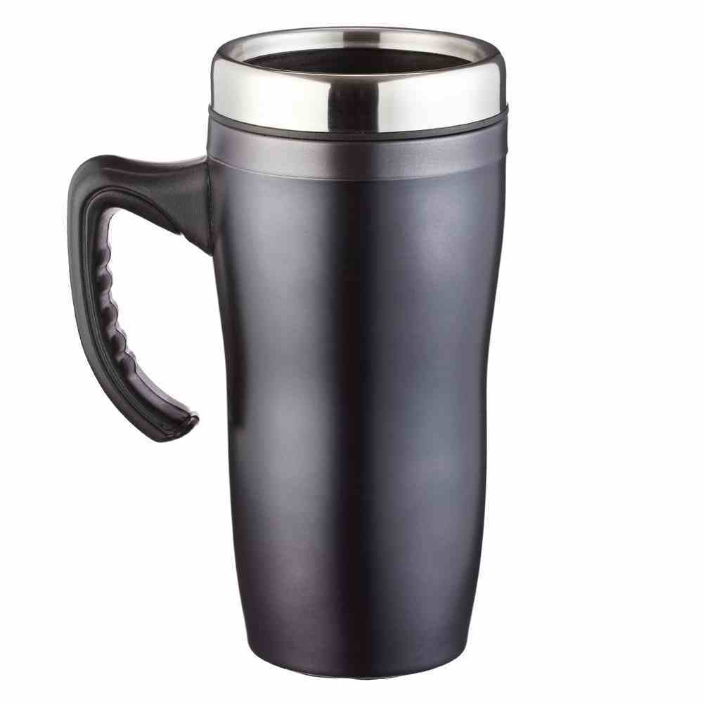 Stainless Steel Travel Mug: Courage, Black (Joshua 1:9) Homeware