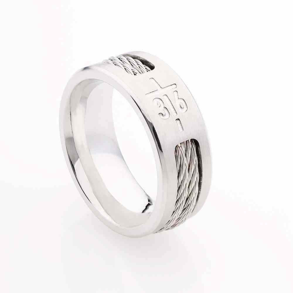 Mens Ring: Size 9, John 3:16 Stainless Steel Jewellery