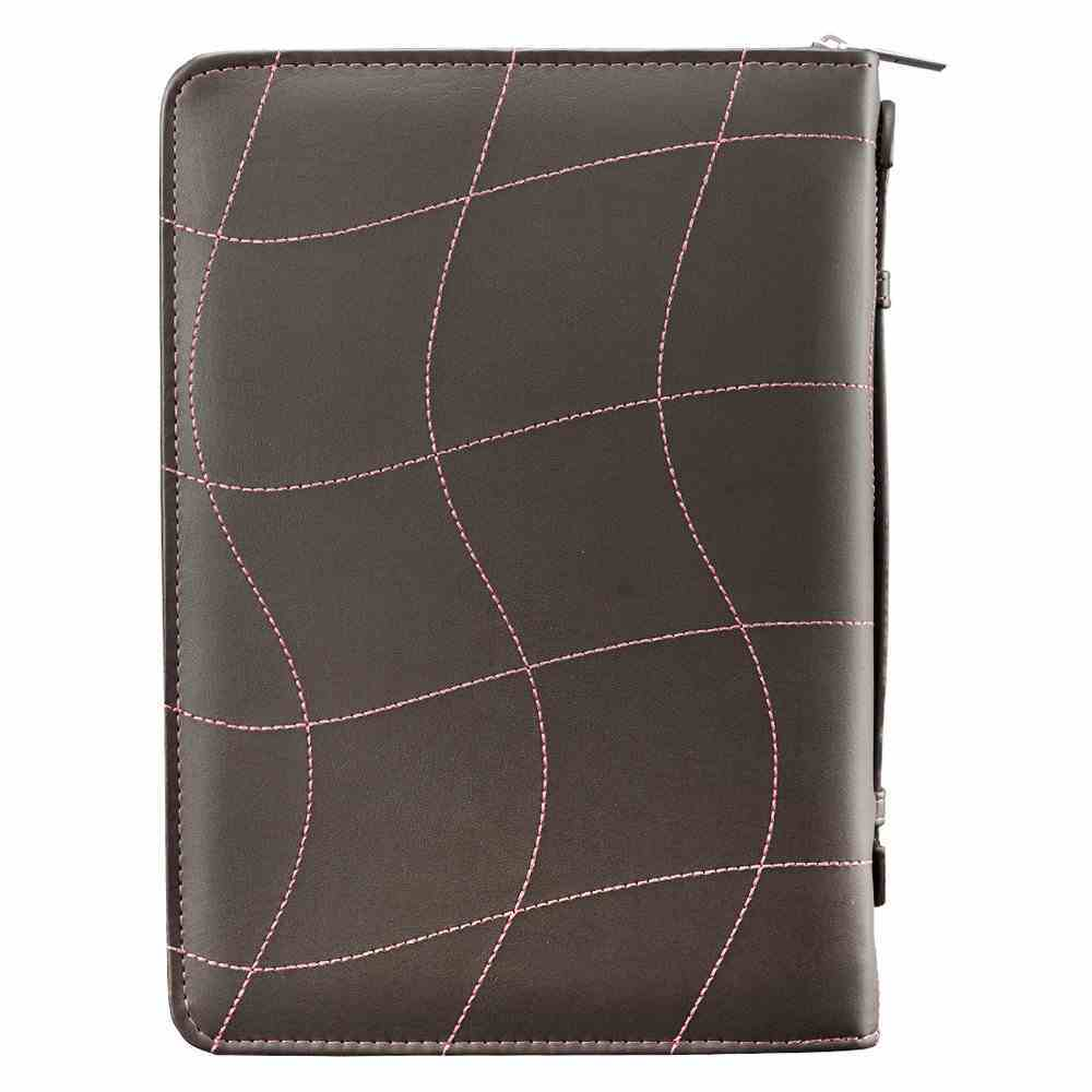 Bible Cover Extra Large: Love, Pink/Brown, Carry Handle Luxleather (1 Cor 13:4-8) Bible Cover