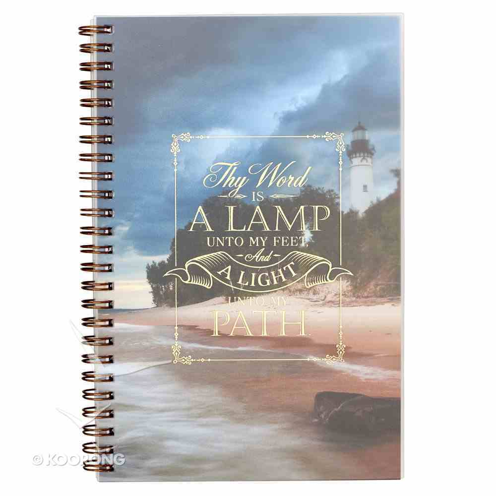 Notebook: Thy Word is a Lamp Unto My Feet, Lighthouse Picture Spiral