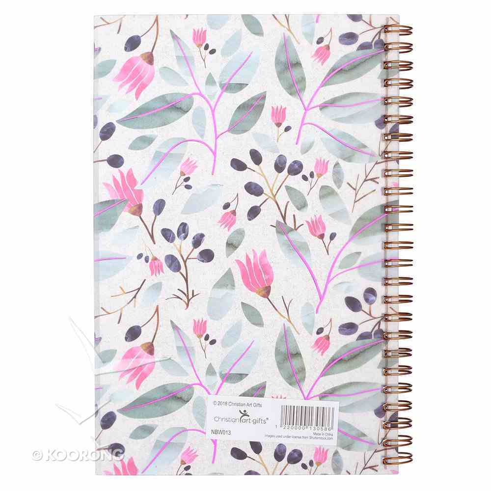 Notebook: Plans to Give You Hope and a Future, Pink/Green Floral Spiral