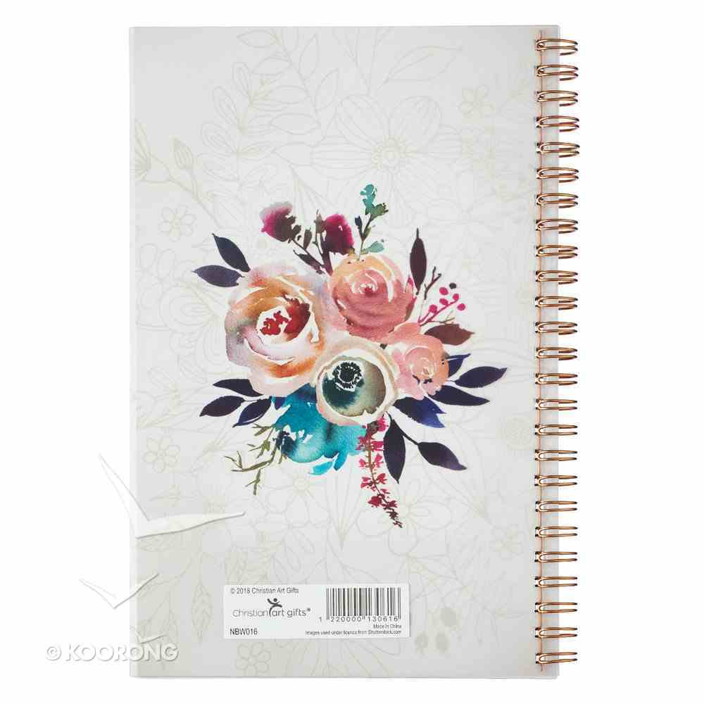 Notebook: Ask, Seek, Knock, Pink/Cream/Blue Floral Spiral