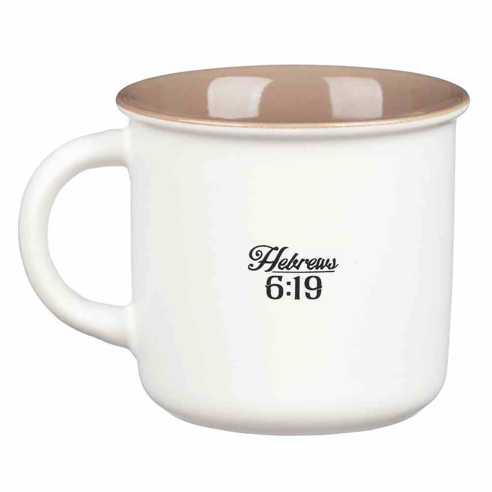 Camp Style Ceramic Mug: Hope as An Anchor For the Soul, White/Tan (Heb 6:19) Homeware