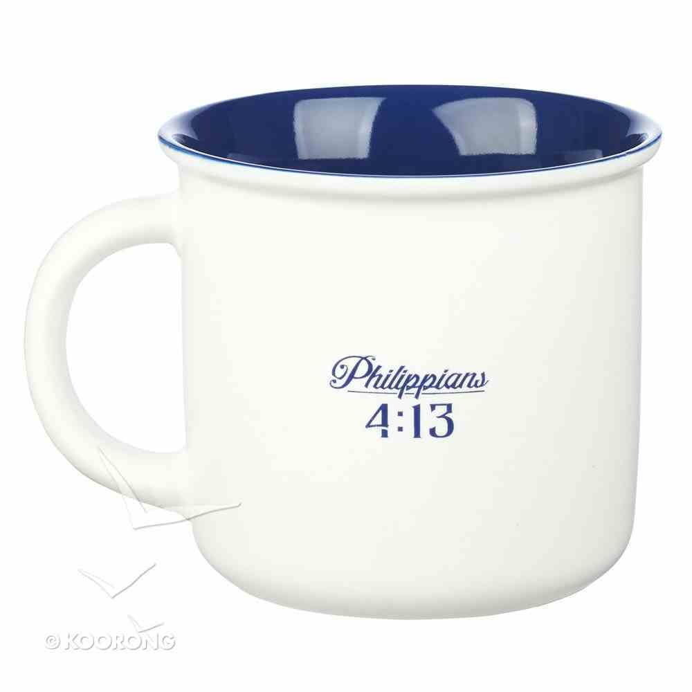 Camp Style Ceramic Mug: I Can Do All Things Through Christ....White/Blue (Phil 4:13) Homeware