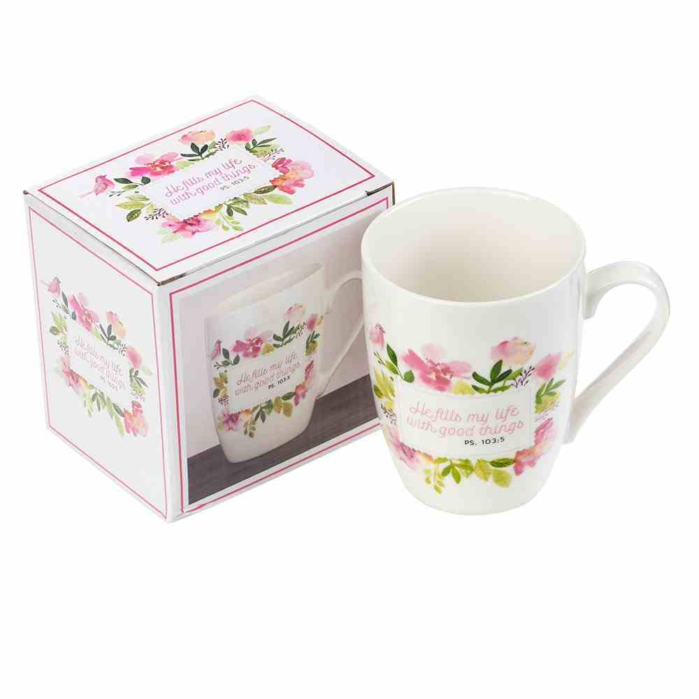 Ceramic Mug: He Fills My Life With Good Things, Pink Floral (Psalm 103:5) Homeware