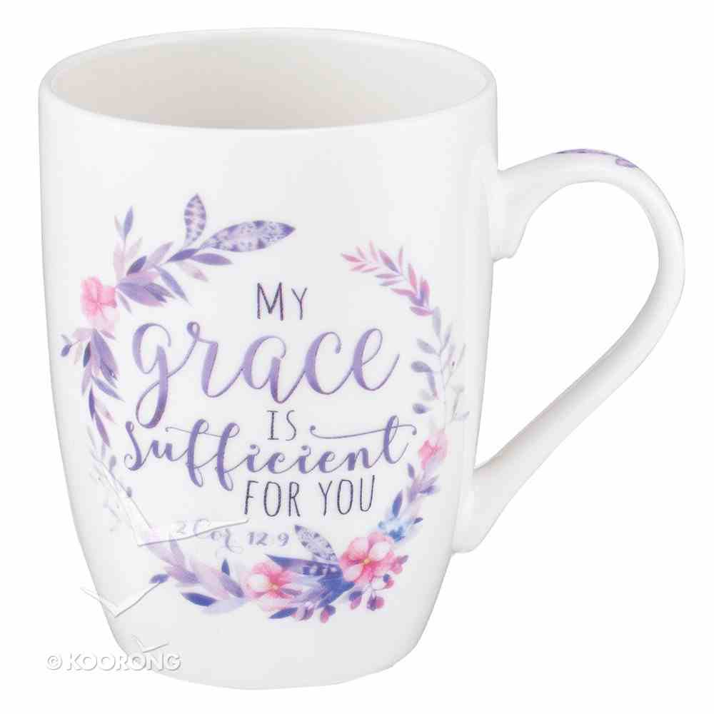 Ceramic Mug: My Grace is Sufficient For You, Pink/Purple Floral Wreath (2 Cor 12:9) Homeware