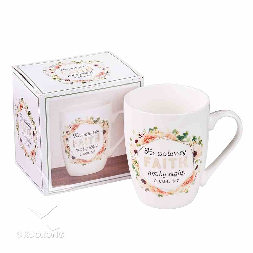 Ceramic Mug: For We Live By Faith, Not By Sight, Apricot Floral Bouquet (2 Cor 5:7) Homeware