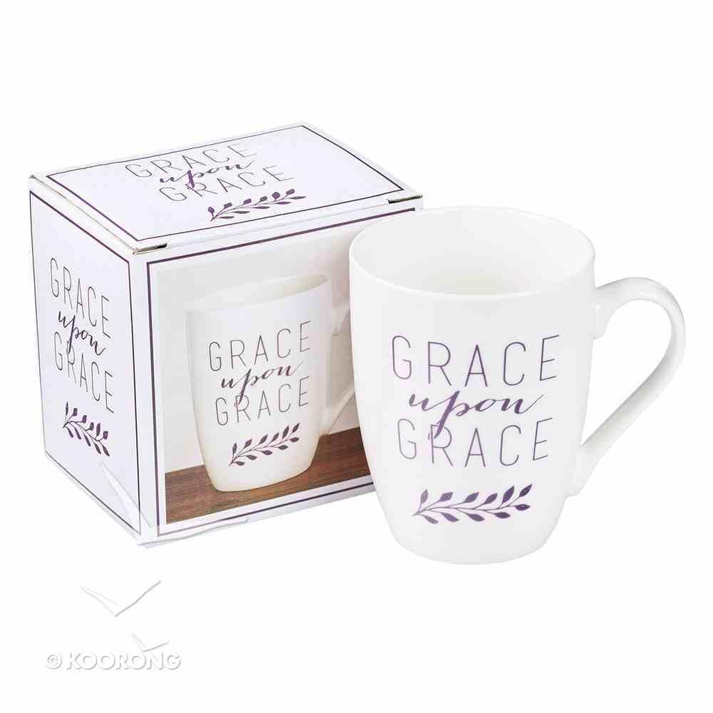 Ceramic Mug: Grace Upon Grace, White/Purple Homeware