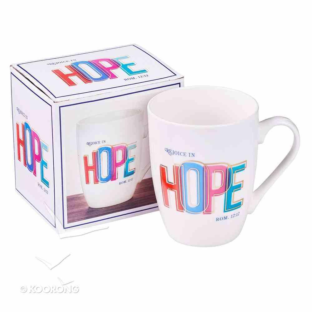 Ceramic Mug: Rejoice in Hope, White/Gold Foiled Homeware