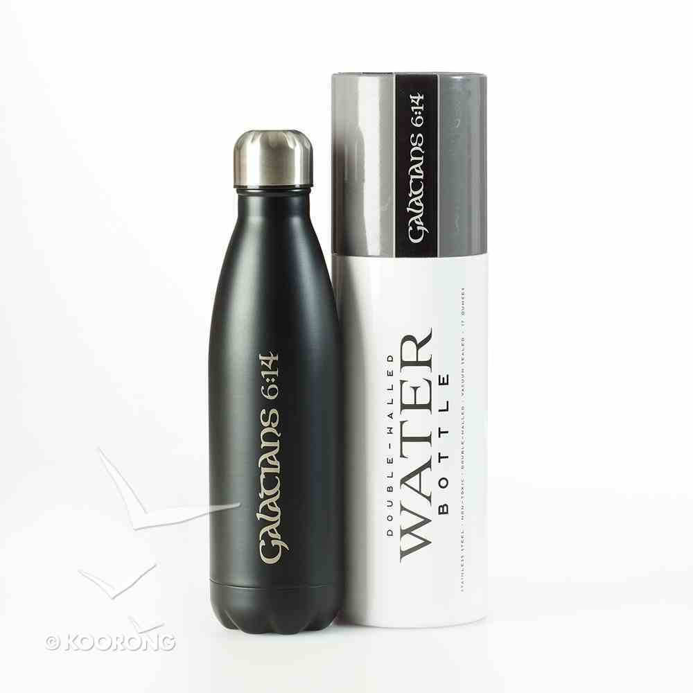 Water Bottle 500ml Stainless Steel: Galations 6:14, Matte Charcoal Homeware